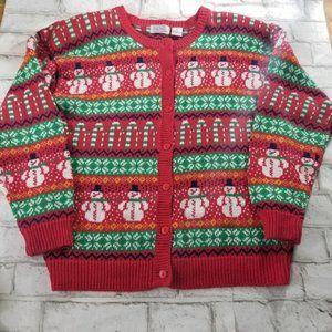 Vintage Ashley Snowman Button-down Sweater